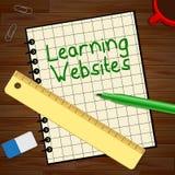 Das Lernen des Website-Notizbuches zeigt Illustration der Bildungs-Standort-3d Lizenzfreies Stockbild