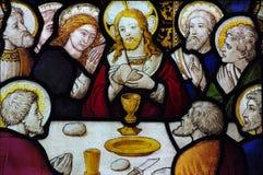 Das letzte Abendessen im Buntglas Stockfotos
