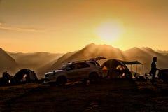 Das letzte Licht vor Sonnenuntergang, im Augenblick der Ansicht von Ba Sai Montages Kcru Mae Moei National Park, Tha-Lied-Yang-Be Lizenzfreie Stockbilder