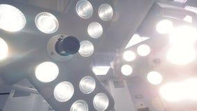 Das Licht von chirurgischen Lampen stock video