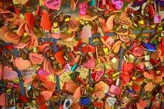 Das Liebes-Vorhängeschloß Stockfotos