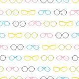 Das listras coloridas dos acessórios dos vidros do vetor teste padrão sem emenda Foto de Stock