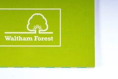Das Logo der Stadt Waltham-Waldes in London stockbilder
