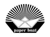 Das Logo ist ein Papierboot in der Sonne Stockfotos