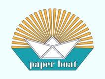Das Logo ist ein Papierboot in der Sonne Lizenzfreie Stockfotografie