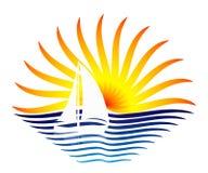 Das Logo mit dem Segelboot und der Sonne Stockbilder