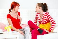 Das lustige Mädchendarstellen tadeln ihre überraschte Freundin Stockfotos