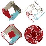 Das mãos logotipo junto Fotografia de Stock Royalty Free