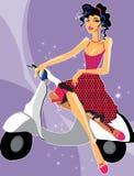 Das Mädchen auf dem moto Fahrrad Lizenzfreie Stockfotos