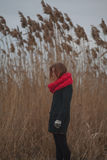 Das Mädchen auf der Querneigung des Flusses Stockfotografie