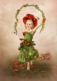 Das Mädchen auf einem Mohnblumengebiet Stockbild