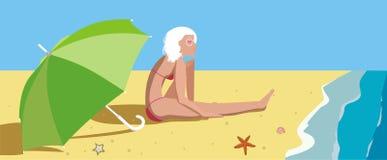 Das Mädchen auf einem Strand lizenzfreie abbildung