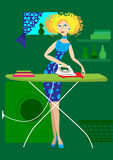 Das Mädchen bügelt Kleidung vektor abbildung
