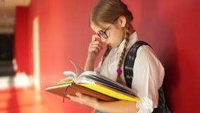 Das M?dchen bereitet sich f?r die Pr?fung im Korridor der Schule vor Nahes Portr?t eines Schulm?dchens mit Gl?sern stock video footage