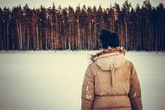 Das Mädchen betrachtet den Winterwald auf dem See stockfotos