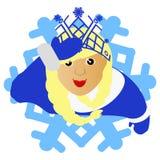 Das Mädchen blonde Santa Claus in Form einer Schneeflocke eine Ikone auf weißem fone dlya die Presse, Unterhemden, T-Shirts, Gewe Lizenzfreie Stockfotos