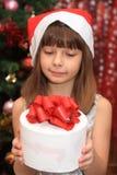 Das Mädchen in Cristmas Stockfotos