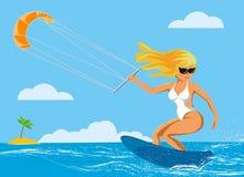 Das Mädchen, das den Drachen im Meer reitet Stockfotografie