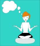 Das Mädchen, das in der Lotus-Lage, übendes Yoga sitzt Stockfoto
