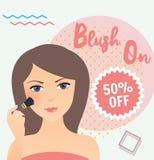 Das Mädchen, das unter Verwendung trägt, erröten an in ihren Gesichtsverkaufs-Rabattkosmetik Stockbilder