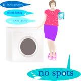 Das Mädchen demonstriert das Waschpulver für farbige und Weißkleidung nahe Waschmaschine stockbilder