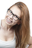 Das Mädchen in den Gläsern. Stockfotografie