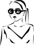 Das Mädchen in den Gläsern Lizenzfreie Stockfotos