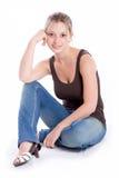 Das Mädchen in den Jeans Lizenzfreie Stockfotos