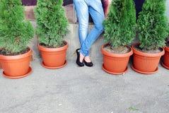 Das Mädchen in den Jeans lizenzfreies stockbild