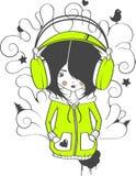 Das Mädchen in den Kopfhörern Lizenzfreie Stockfotos