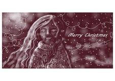 Das Mädchen denkt an Weihnachten Stockfotos