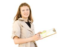 Das Mädchen der Entwerfer eines Innenraums Lizenzfreies Stockbild