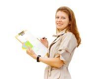 Das Mädchen der Entwerfer eines Innenraums stockbilder