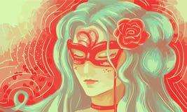 Das Mädchen an der Maskeradeillustration Stockfoto