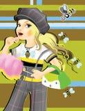 Das Mädchen, die Süsse und der Biene vektor abbildung