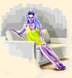 Das Mädchen - ein UFO mit dem blauen Haar Lizenzfreie Stockfotografie