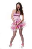 Das Mädchen in einem rosafarbenen Kleid stockfotografie