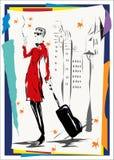 Das Mädchen in einem roten Mantel geht die Straße hinunter Stockfotografie