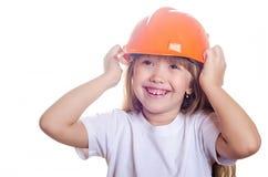 Das Mädchen in einem Sturzhelm Lizenzfreies Stockfoto