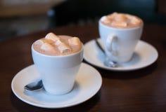 Das Mädchen in einem weißen Hausmantel mit einem Tasse Kaffee stockfotografie