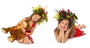 Das Mädchen in einem Wreath im Studio Lizenzfreie Stockfotos