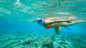 Das Mädchen in einer Maske unter Wasser der Indische Ozean mit Korallen und Fischen stockbilder