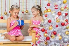Das Mädchen gab einem anderen Mädchen Geschenk der neuen Jahre Stockfotografie
