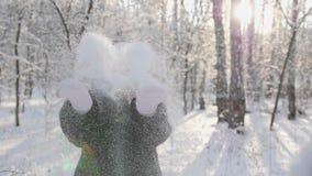 Das Mädchen geht in Winterholz, Würfe schneien, Lächeln, Lachen Wege in der Frischluft stock footage