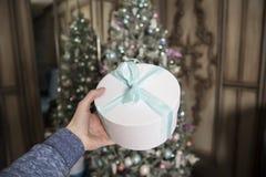 Das Mädchen hält in der Hand einen Kasten mit dem verpackten Geschenk und auf einem Hintergrund der verzierte Tannenbaum stockbild