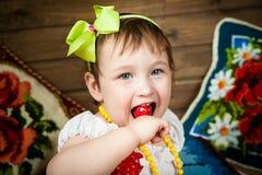Das Mädchen, Heu, Kissen, Nahaufnahme Lizenzfreies Stockbild