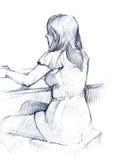 Das Mädchen hinter der Tabelle lizenzfreie abbildung