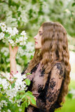 Das Mädchen im Apfelobstgarten Lizenzfreies Stockbild