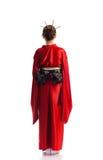 Das Mädchen im gebürtigen Kostüm der japanischen Geisha Stockbild