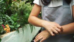 Das Mädchen im Gewächshaus im Schutzblech, itching von den Blütenstaubanlagen Allergisch zu den Blumen stock footage